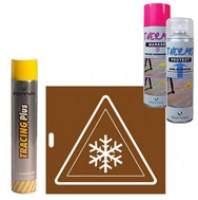 PEINTURE THERMOSENSIBLE EN CAS DE GEL THERMOKITFLOC ( 1 thermoprotect + 1 thermomarker + 1 tracing jaune 500ml + 1 POCHOIR FLOCON  ) SOPPEC