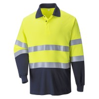 Polo bicolore FR antistatique jaune / marine PORTWEST